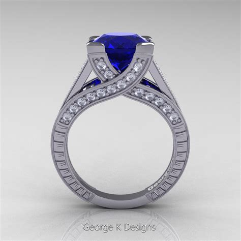 Blue Sapphire 4 0 Ct classic 14k white gold 3 0 ct blue sapphire