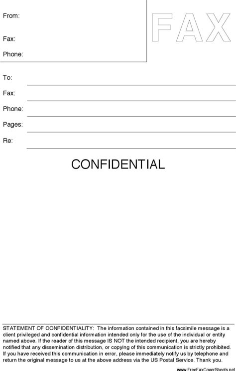 confidential template confidential fax cover sheet template for free