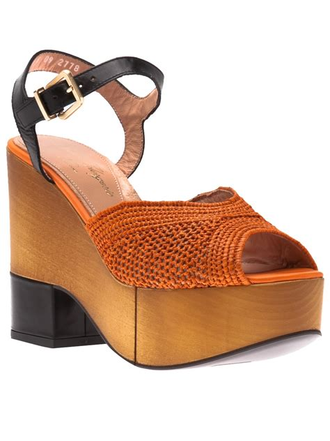 orange dress sandals robert clergerie dress wedge sandals in orange lyst