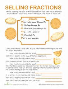 fraction word problems pie time worksheet education com