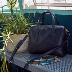 Ready Fossil Sidney Satchel Brown fossil sydney satchel colorblock colors of black and brown