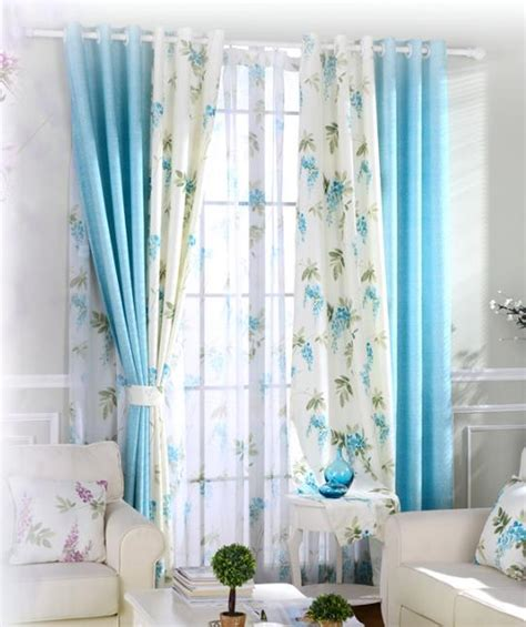 Blue And White Curtains For Living Room Blue And White Botanical Print Linen Country Curtains For