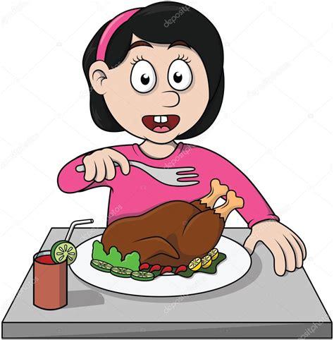 imagenes animadas almorzando chica comer ilustraci 243 n de dibujos animados de pollo asado