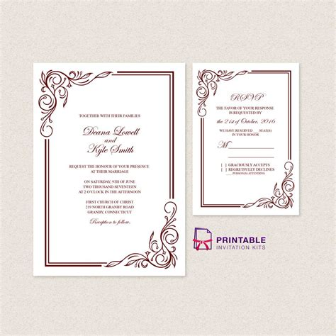 text templates for wedding invitations wedding invitation templates free pdfs with easy to edit