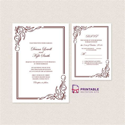 Wedding Invitation Templates Free PDFs   with easy to edit