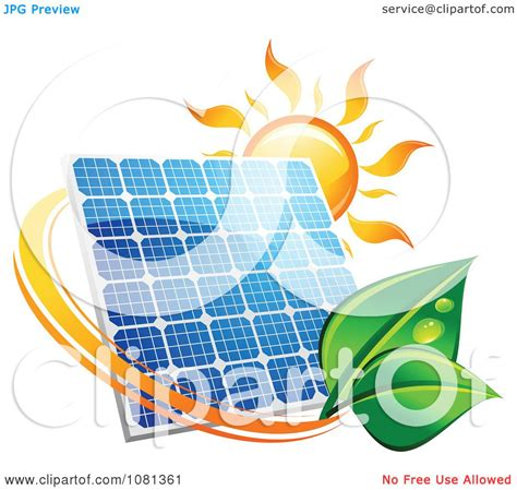 clipart sun above a solar panel with a green leaf circle 4