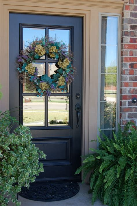 Furniture: Extraordinary Grey Front Porch Decoration Using Single Dark Grey Wood Front Door