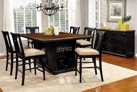 cherry black counter height dining room set from