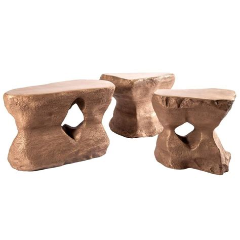 set of three coffee table in bronze river 1 2 3 studio