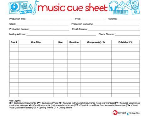 cue sheet template introducing the tongal cue sheet tongal