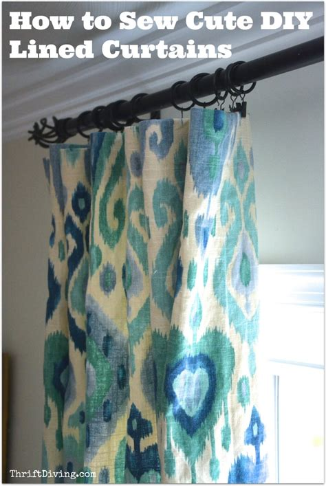 how to sew curtain panels with lining how to sew cute lined diy curtains thrift diving blog