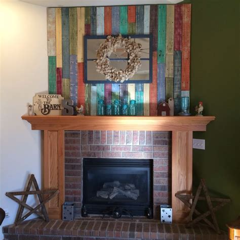 removable pallet wall above fireplace pantry laundry
