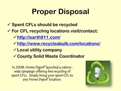 proper disposal of fluorescent ls ppt compact fluorescent light bulbs powerpoint