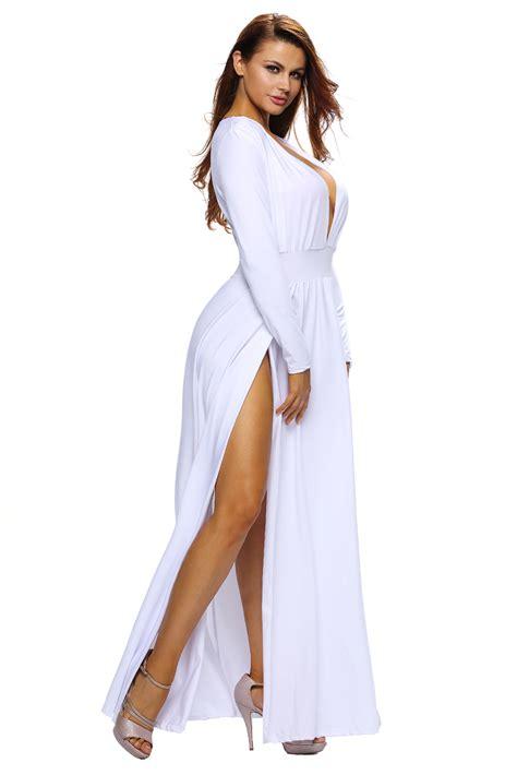 Dress 41345 Flower With Slit S M L white sleeves slit maxi
