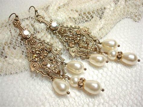 vintage pearl chandelier earrings bridal vintage style earrings pearl wedding earrings
