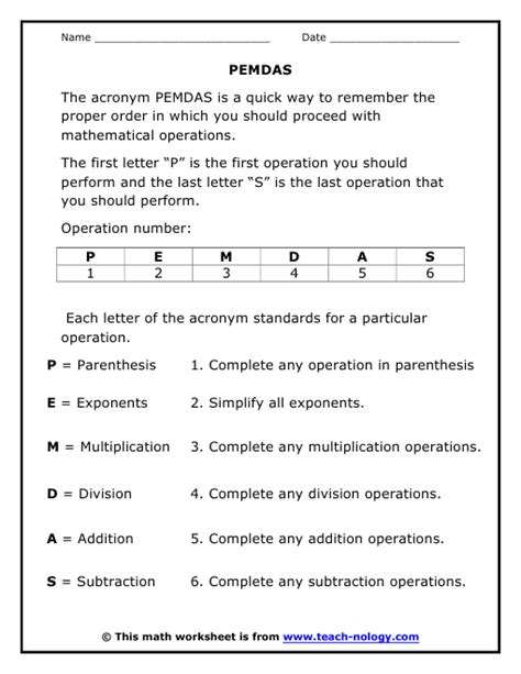printable quiz on order of operations introducing pemdas