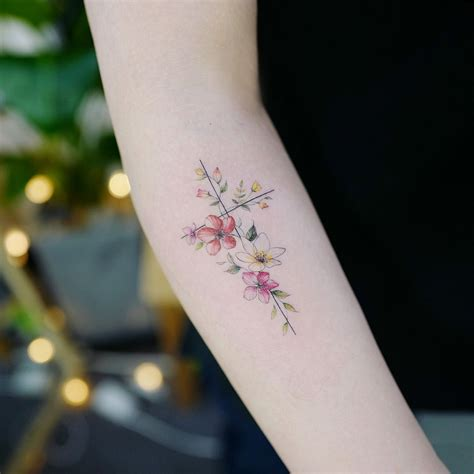 cross and flower tattoo flower cross artist tattooist banul seoul korea