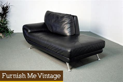Chaise Lounges Nicoletti Black Leather Chaise Lounge Sofa Furnish Me