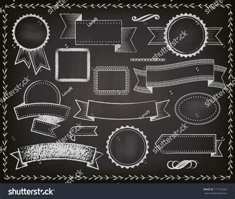 design elements banner chalkboard ribbons banners frames set grungy stock vector