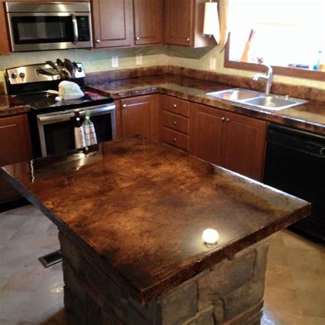 Concrete Overlay Countertops - concrete overlay countertop and acid stain on
