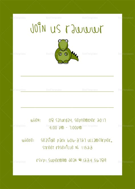 Dinosaur Birthday Party Invitation Design Template In Psd Word Publisher Illustrator Indesign Dinosaur Birthday Invitation Template