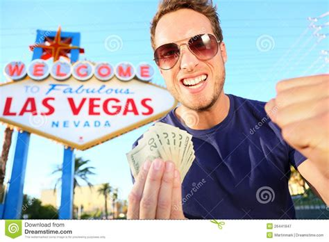Dream About Winning Money - las vegas man winning money royalty free stock photography image 26441847