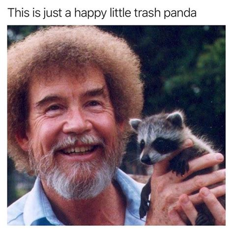 bob ross painting panda this is just a happy trash panda memes