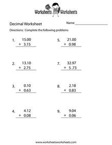 decimal addition worksheet free printable educational