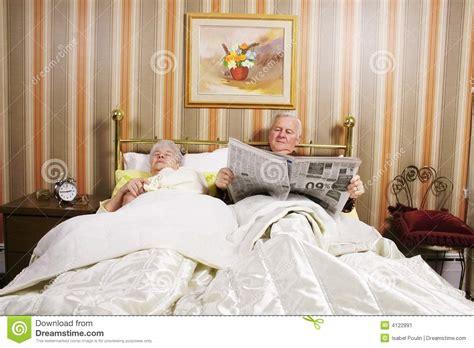 couple  bed stock image image  elderly