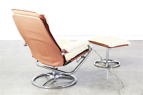 reclining leather chair with ottoman vintage leather chrome reclining lounge chair w ottoman