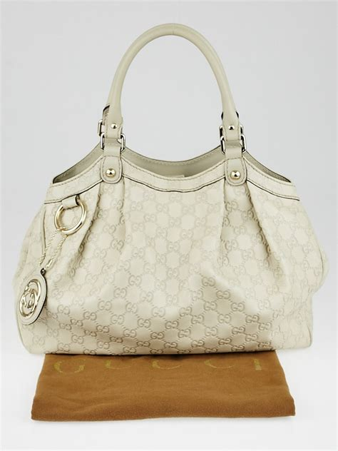 Gucci White gucci white guccissima leather medium sukey tote bag