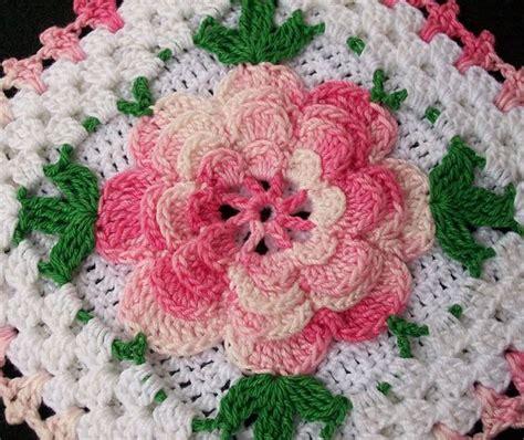 crochet flower pattern irish rose thread crochet flower potholder crocheted from vintage