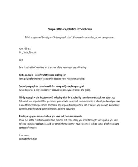 application letter to apply for scholarship scholarship letter template 8 free sle exle