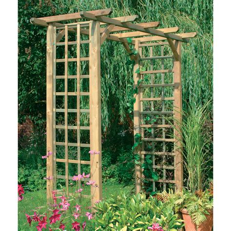 wooden trellis forest classic wooden arch with trellis sides softwood