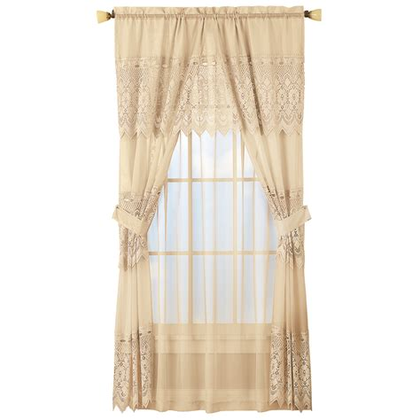 sheer lace curtains sheer lace curtain and valance set ebay