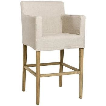 Beige Linen Bar Stools by Beige And White Spindle Legs Bar Stool