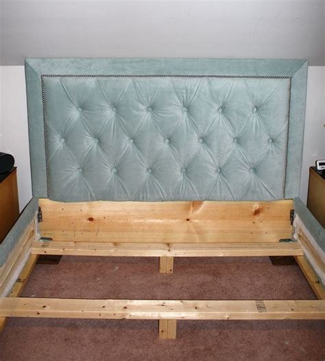 Nailhead Bed Frame Tufted Headboard With Nailhead Trim And Matching Bed Frame Decorating And Furniture