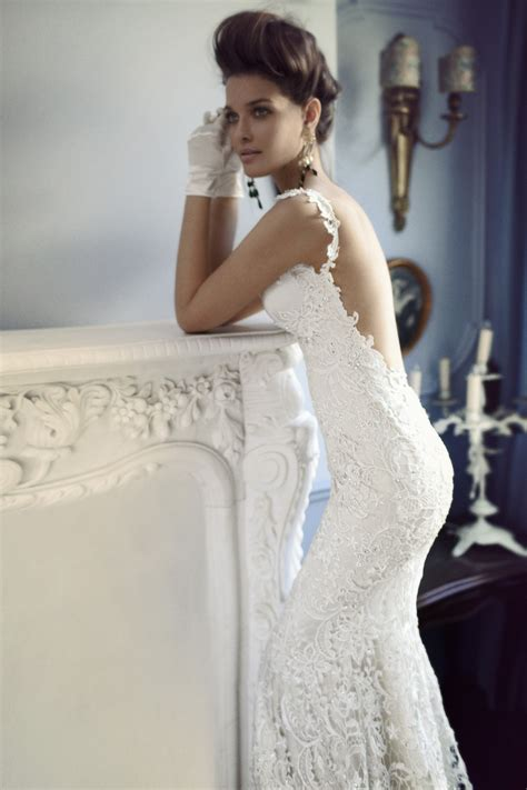 Open Back Lace Wedding Dress with Crystal Beadng   OneWed.com