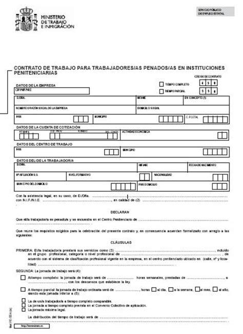 contrato general de empleo descargue plantillas de modelo contrato de trabajo para trabajadores penados en