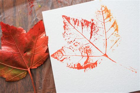 project printmaking with leaves