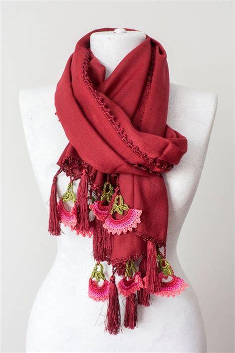 Rock Tassel Scarves Take The World by Burgundy Tassel Scarf Crochet Scarf Winter Scarf Thick