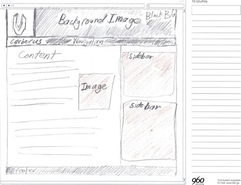 layout grid sketch using the 960 grid system as a design framework