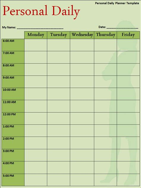 personal daily planner calendar template exle with