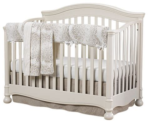 Linen Crib Set by Tristan Gray And Taupe With Linens Bumperless Crib 4