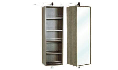 rotating bathroom mirror storage unit linen cabinet with