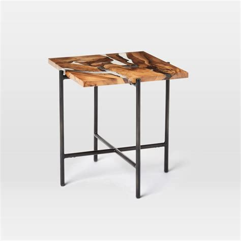 Resin Side Table by Wood Resin Square Side Table West Elm Au