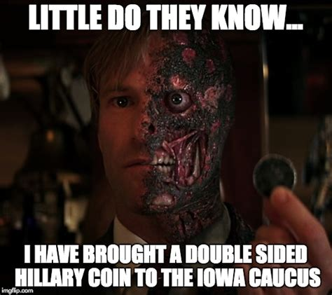 Two Face Meme - image tagged in bernie sanders hillary clinton 2016