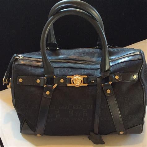 Versace Icon Satchel by 63 Versace Handbags Versace Black Logo Canvas Bag