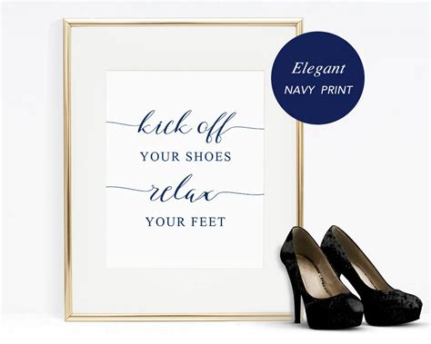 Navy Kick Off Your Shoes Relax Your Feet Sign Template Wedding Shoes Sign Template