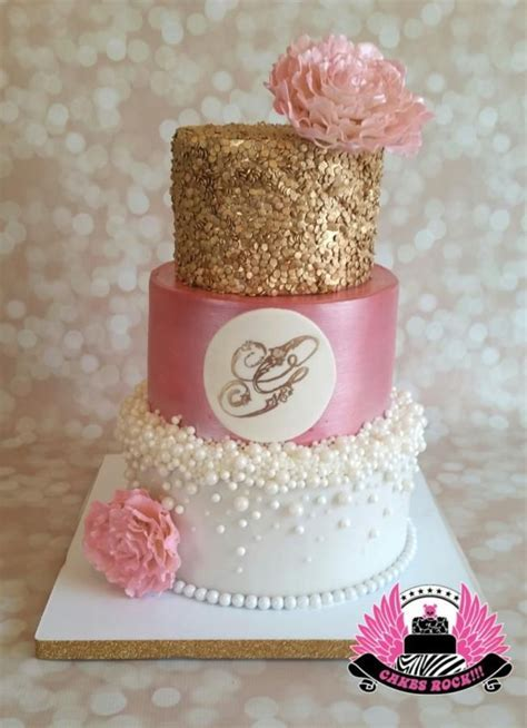 Gold Pearls and Pink Baby Shower by Cakes ROCK!!!   Cakes